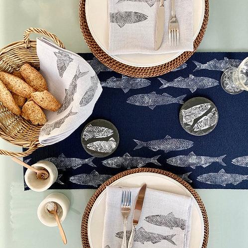 Navy Sardine Table Runner