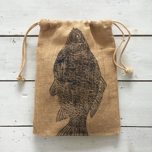 Fish Jute Drawstring Bag