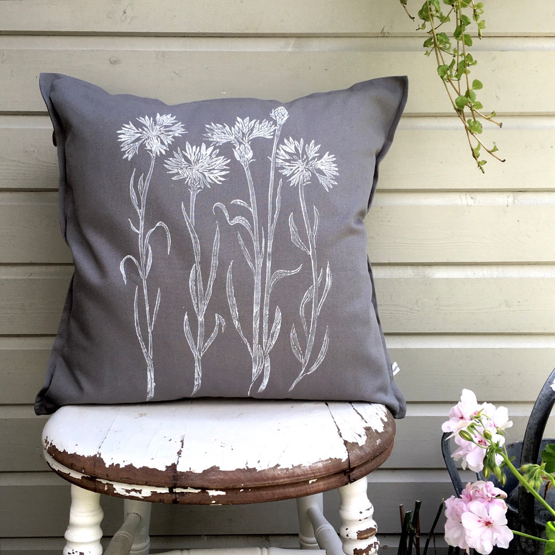 Cornflower Cushion In Grey