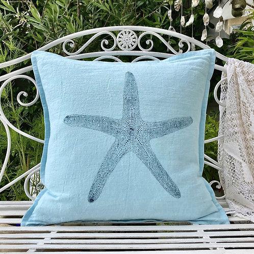 Aqua 'Starfish Print' Linen Cushion