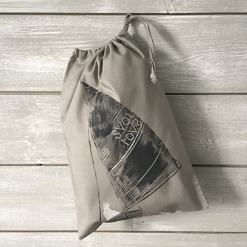 Sailboat Drawstring Bag Dark Grey
