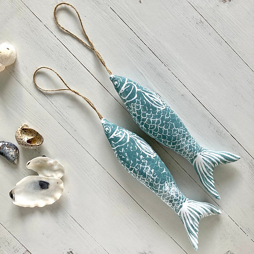 Cotton Lavender Fish -  Green