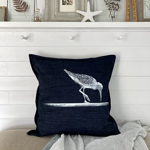 Denim 'Sandpiper Print' Cushion