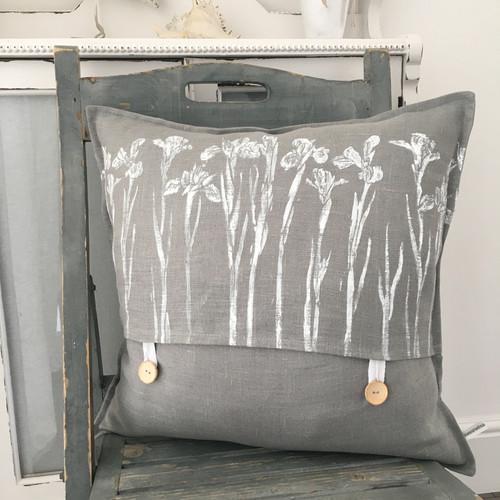 Grey Linen Iris Cushion