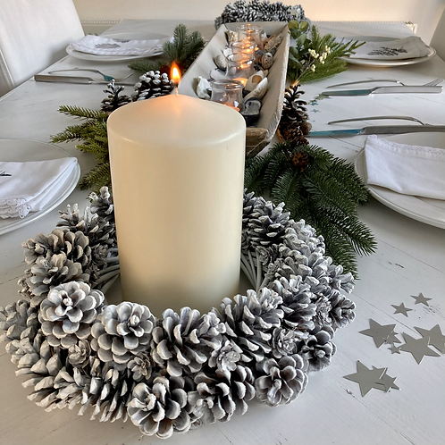 Frosted Pine Cone Candle Ring