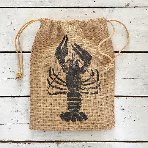 Lobster Jute Drawstring Bag