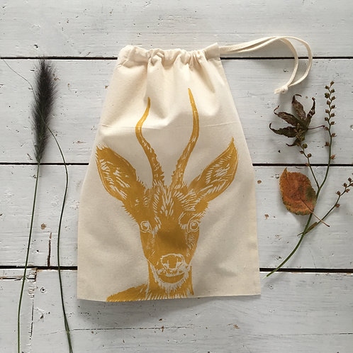 Deer Drawstring Bag Cream