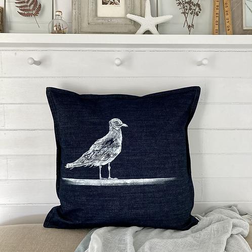Denim 'Seagull Print' Cushion