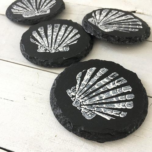 Set of 4 Shell Slate Coasters
