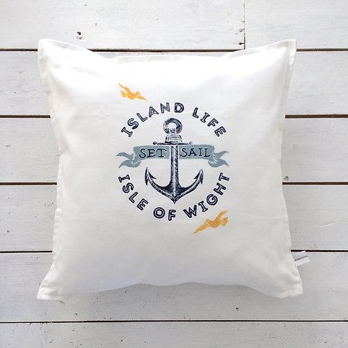 Island Life Anchor Cushion White