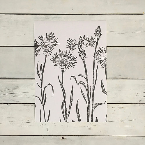 Cornflowers A4 Lino Print