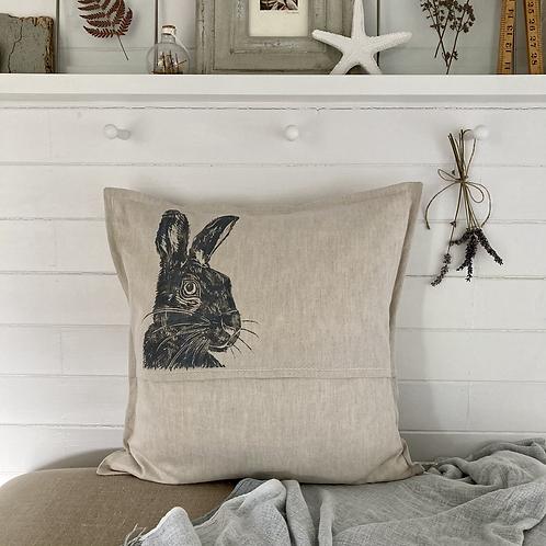 'Mr Hare Print' Natural Cushion