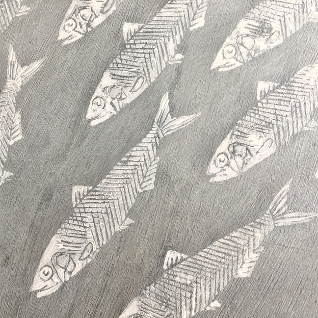 Sardine Design Printed Onto Wood