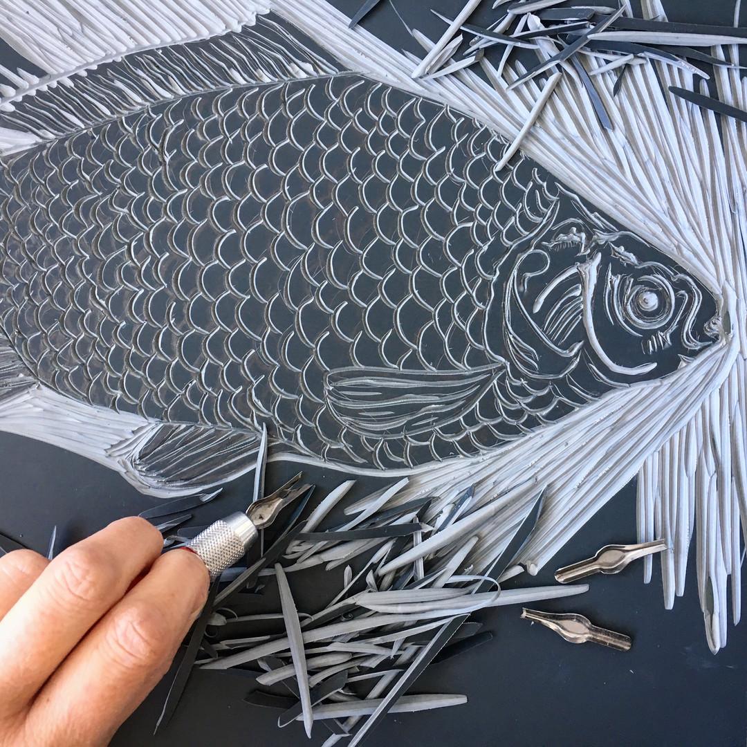 Fish Linocut