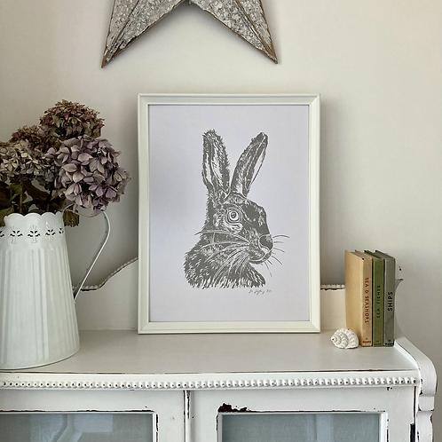 Mr Hare Framed Art Print - White