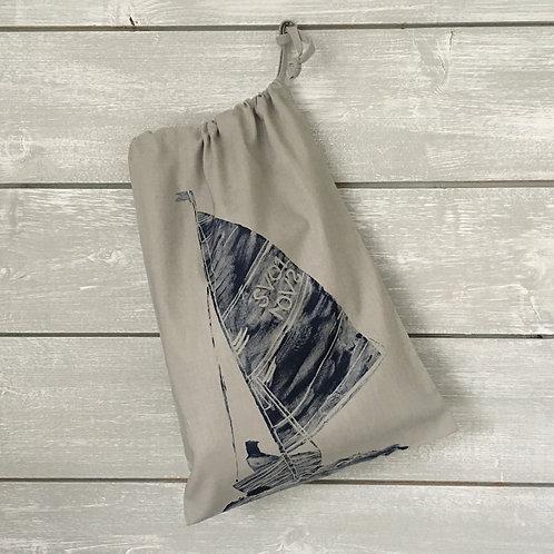 Sailboat Drawstring Bag Grey