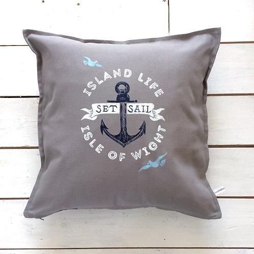 Island Life Anchor Cushion Grey