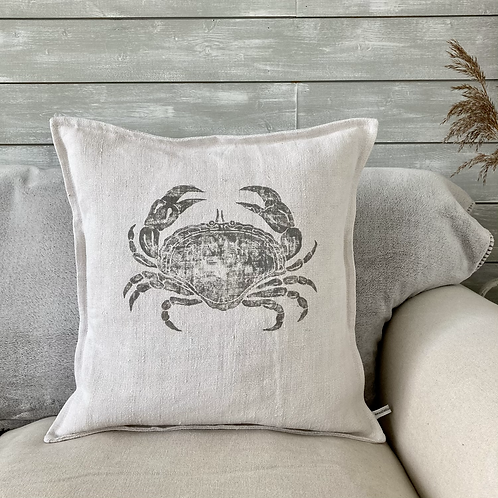 Vintage Linen Cushion - 'I'm Not Crabby!'