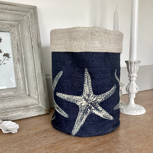 Denim Storage Tub - Starfish Design