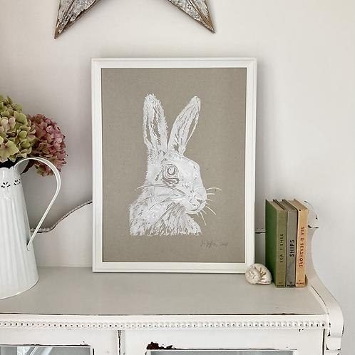 Mr Hare Framed Art Print - Natural