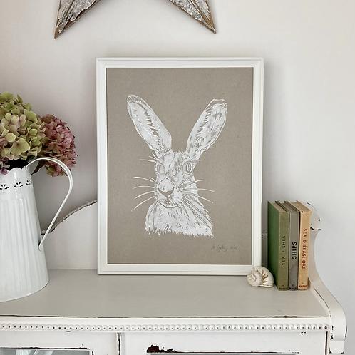 Mrs Hare Framed Art Print - Natural