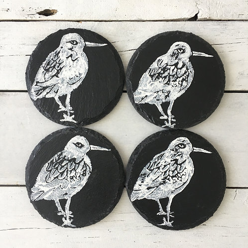 Set of 4 Turnstone Bird Slate Coasters