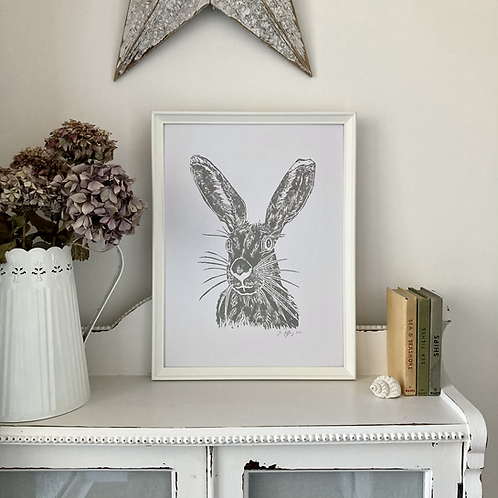 Mrs Hare Framed Art Print - White