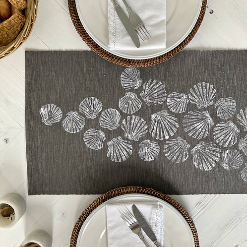 Grey Scattered Shells Table Runner