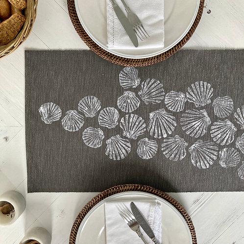 Grey Scattered Shells Table Runner