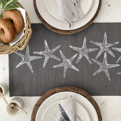 Grey Sea Stars Table Runner