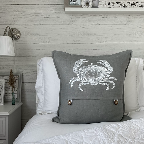 Grey Linen Crab Cushion