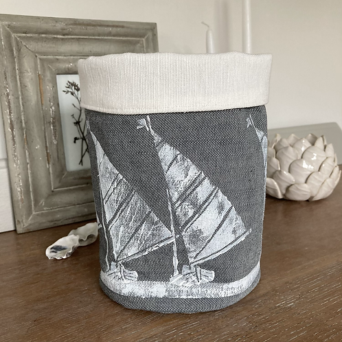 Grey Denim Storage Tub - Sail Boat Design