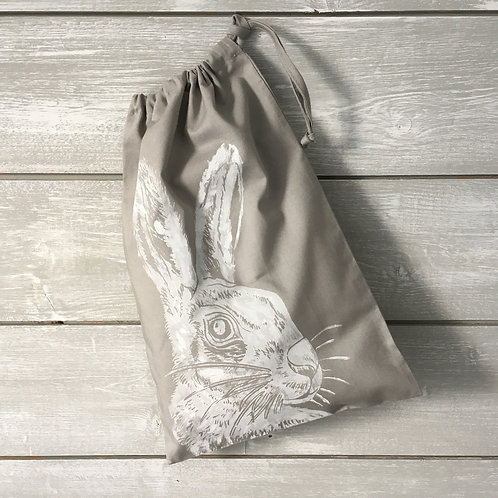 Mr Hare Drawstring Bag Grey