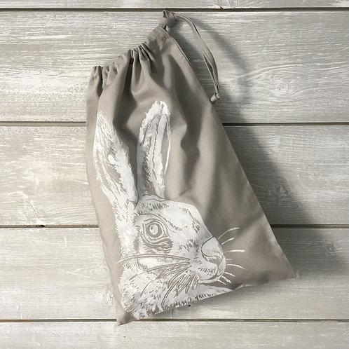 Mr Hare Drawstring Bag Grey