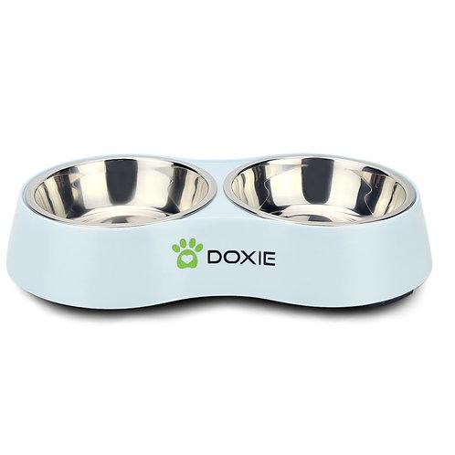 Doxie® Voerbak – Drinkbak – 2 x 175 ml – ⌀ 11 cm – Mat Blauw
