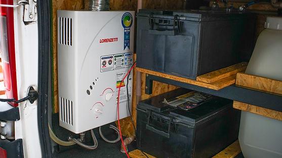 Baterias e aquecedor de passagem
