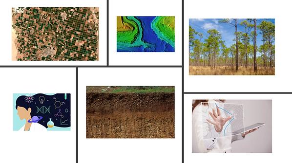 Collage woman scientist & soil-landscape
