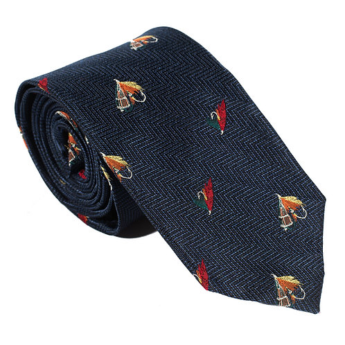 Inverness Woven Silk Neck Tie - Navy