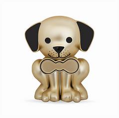 Matte Gold Puppy Pet Memory Urn