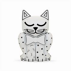 White Painted Kitten Pet Memory Urn