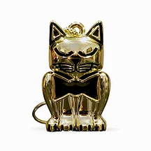 Glossy Gold Cat Pet Memory Keychain