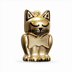 Matte Gold Kitten Keychain