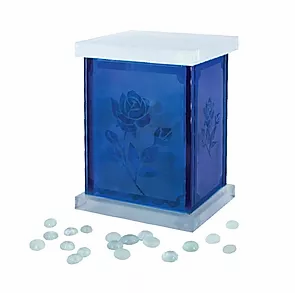 Memento Gemstones with Blue Frosted Glass Jar
