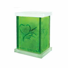 Memento Gemstones with Green Frosted Glass Jar
