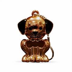 Rose Gold Puppy Keychain