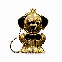 Glossy Gold Dog Pet Memory Keychain