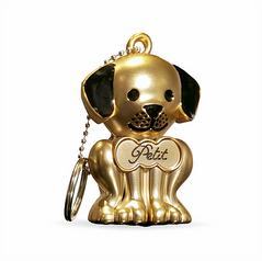Matte Gold Puppy Keychain