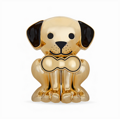 Gold Puppy Pet Memory Urn
