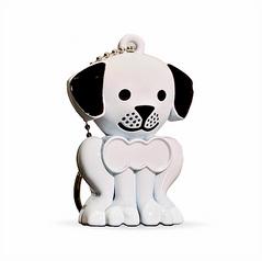 White Puppy Keychain