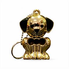Gold Puppy Keychain